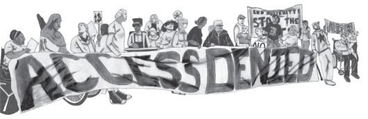 Pencil drawing of a group of about 25 protesters in a line holding a banner that says