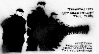 Stencil of a line of police. The text says