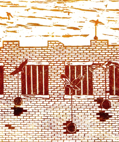 Large brick building with bars on the windows being bombarded by birds carrying wrecking-balls in their talons. Tan to dark brown ink gradient on white paper.