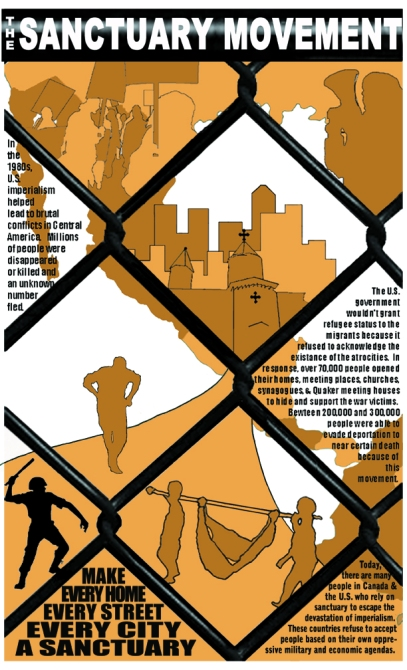 The Sanctuary Movement.  Image foreground is a barbed wire fence. The top of the poster has images of protestors holding placards and a woman holding a megaphone. The center of the poster shows a cityscape with a church. One person is running towards it and away from a police officer who is wielding a baton. There are also two people carrying someone in a blanket (suspended on a pole) towards sanctuary. The background is a stylized map of Central America.  Text: In the 1980s, U.S. imperialism helped lead to brutal conflicts in Central America. Millions of people were disappeared or killed and an unknown number fled. The government wouldn't grant refugee status to the migrants because it refused to acknowledge the existence of the atrocities. In response, over 70,000 people opened their homes, meeting places, churches, synagogues and Quaker meeting houses to hide and support the war victims. Between 200,000 and 300,000 people were able to evade deportation to near certain death because of this movement. Today, there are many people in Canada and the U.S. who rely on sanctuary to escape the devastation of imperialism. These countries refuse to accept people based on their own oppressive military and economic agendas. Make every home, every street, every city a sanctuary.