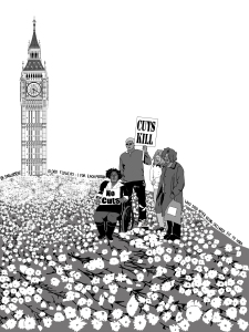 """UK Parliament: 10,000 flowers - 1 for each person who died after being declared fit to work."" Black and white drawing about the austerity programs in the UK cutting disability benefits."