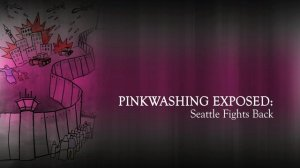 Pinkwashing Exposed image - drawing of the Apartheid wall and Palestine under attack.