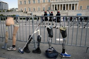 Disabled people protest austerity in Greece.