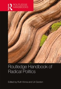 Routledge Handbook of Radical Politics Cover. Enlarged piece of tree bark with small amount of moss growing in it.